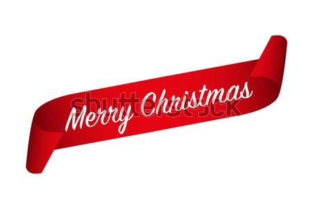 Rouge papier ondulé ruban joyeux Noël Photo stock © kurkalukas