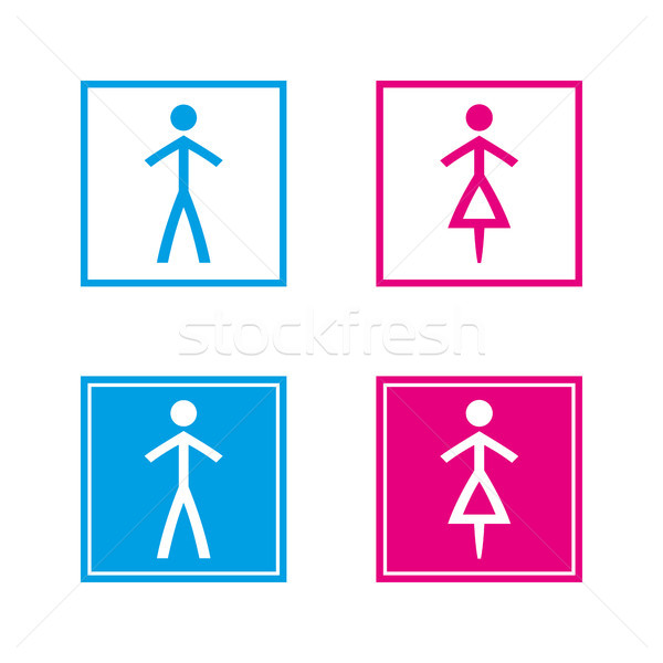 Simple blue and pink wc symbols in empty and full squares isolated on a white background, vector res Stock photo © kurkalukas