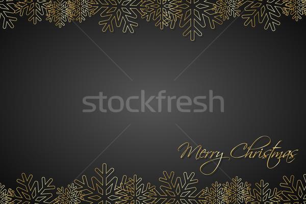 Karácsony fekete arany hópelyhek egyszerű ünnep Stock fotó © kurkalukas