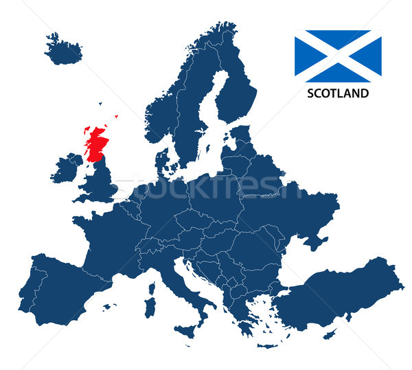 Vector illustration of a map of Europe with highlighted Scotland and Scottish flag isolated on a whi Stock photo © kurkalukas