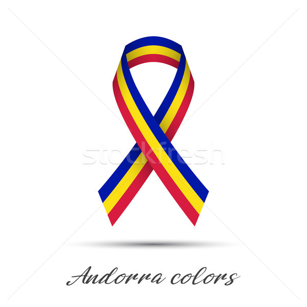 Modern colored vector ribbon with the Andorra tricolor isolated on white background, abstract Andorr Stock photo © kurkalukas