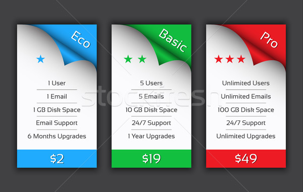 Eco, Basic and Pro pricing plans for your website and aplications Stock photo © kurkalukas
