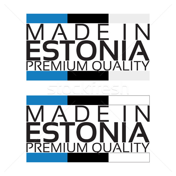Made in Estonia icon, premium quality sticker with Estonian colors, vector illustration isolated on  Stock photo © kurkalukas