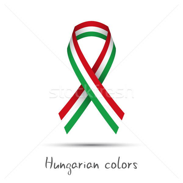 Stock photo: Modern colored vector ribbon with the Hungarian tricolor isolated on white background, abstract Hung