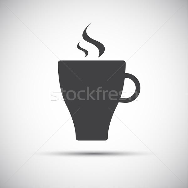 Basit vektör fincan kahve ikon yalıtılmış Stok fotoğraf © kurkalukas