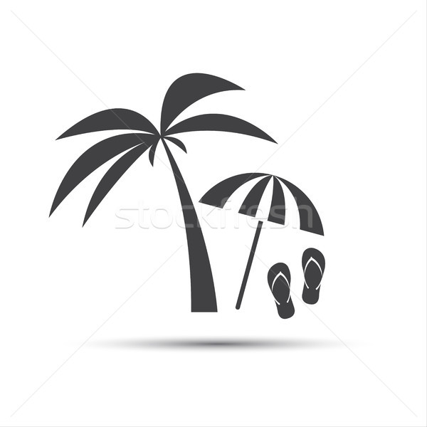 Holiday icon with palm, beach umbrella and flip flop isolated on white background Stock photo © kurkalukas