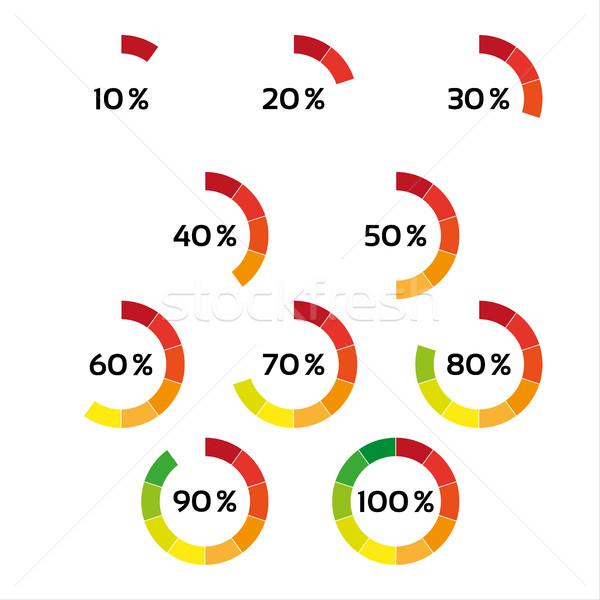 Set dieci colore percentuale isolato bianco Foto d'archivio © kurkalukas