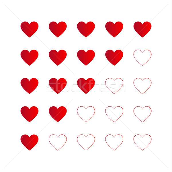Rating with red hearts, vector icon for your infographic isolated on white background Stock photo © kurkalukas