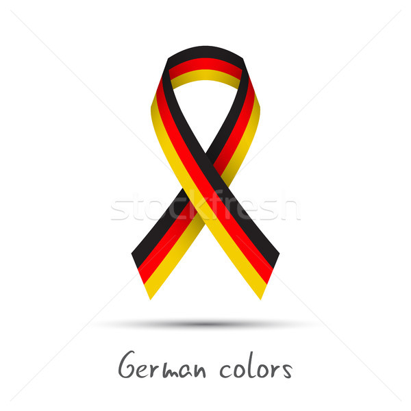 Stock photo: Modern colored vector ribbon with the German tricolor isolated on white background, abstract German