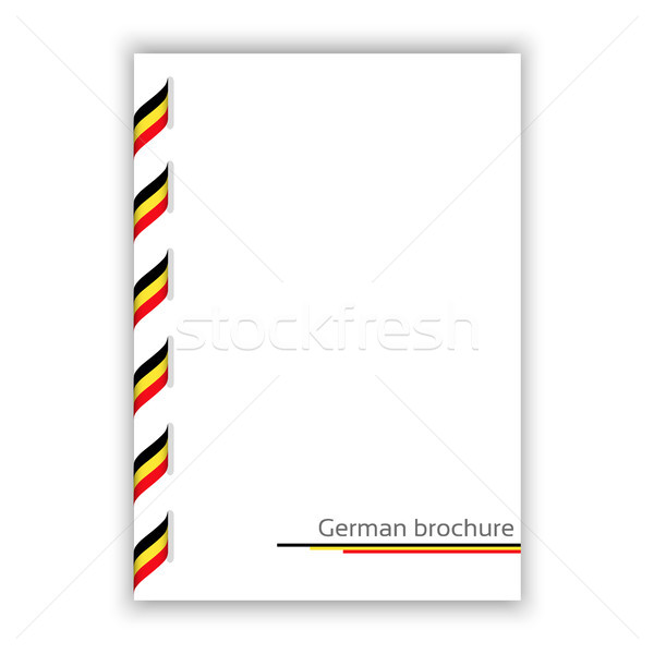 White brochure with ribbon in German tricolor, vector illustration Stock photo © kurkalukas