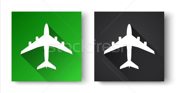 черный зеленый иконки самолет изолированный белый Сток-фото © kurkalukas