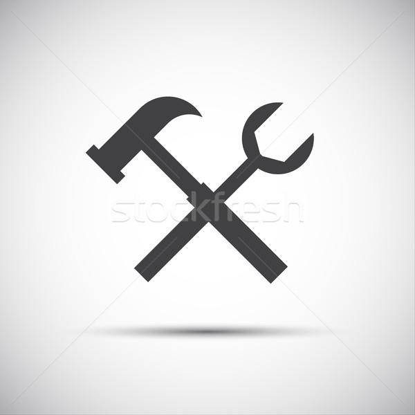 простой вектора инструменты икона ключа молота Сток-фото © kurkalukas