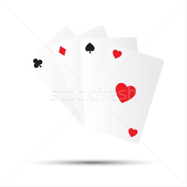 Photo stock: Simple · vecteur · cartes · à · jouer · isolé · blanche · main
