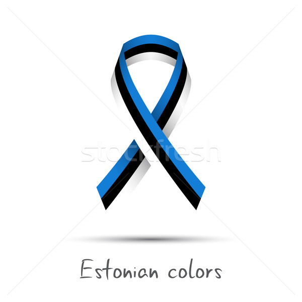 Modern colored vector ribbon with the Estonian tricolor isolated on white background, abstract Eston Stock photo © kurkalukas