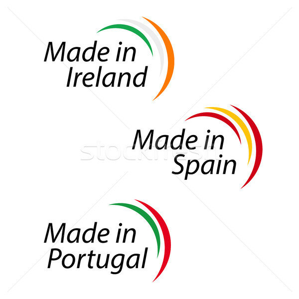 Simple logos Made in Ireland, Made in Spain, Made in Portugal, vector logos with Irish, Spanish and  Stock photo © kurkalukas