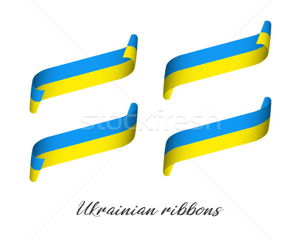 Set of four modern colored vector ribbons in Ukrainian colors isolated on white background, flag of  Stock photo © kurkalukas