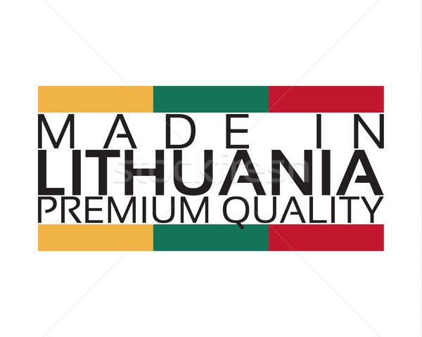 Made in Lithuania icon, premium quality sticker with Lithuanian colors, vector illustration isolated Stock photo © kurkalukas