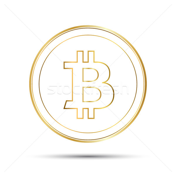 Simple bitcoin icon isolated on white background, golden bitcoin symbol, crypto currency coin, vecto Stock photo © kurkalukas