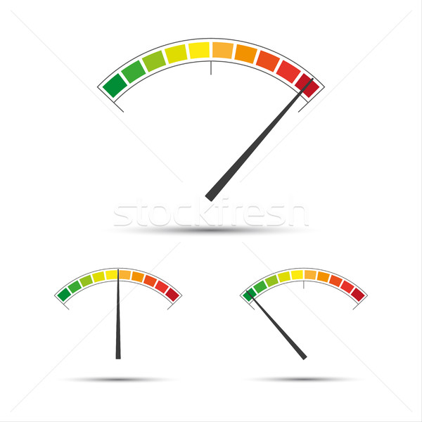 Set of simple vector tachometers with indicators in red, yellow  Stock photo © kurkalukas