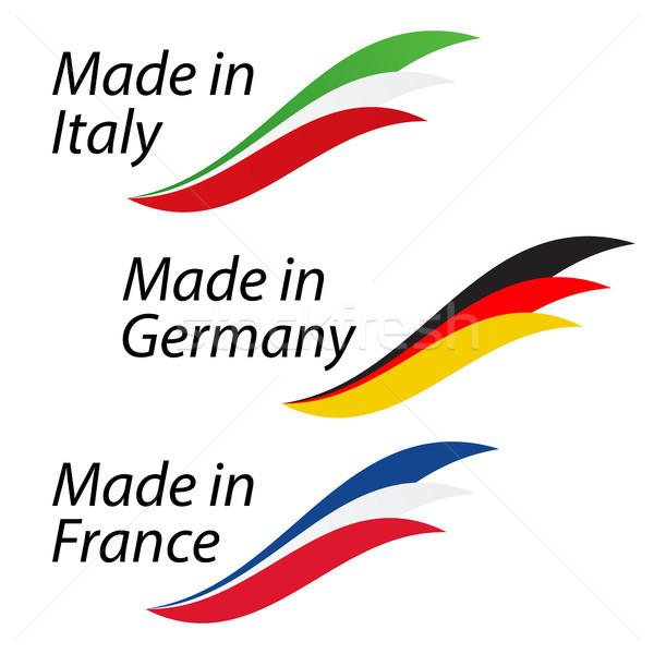 Simple logos Italie Allemagne France vecteur Photo stock © kurkalukas