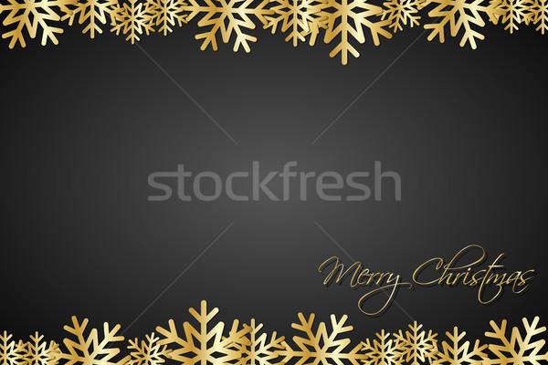 Noël noir or flocons de neige simple vacances Photo stock © kurkalukas