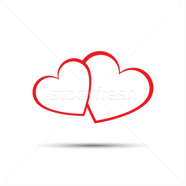 Stockfoto: Eenvoudige · twee · Rood · harten · icon · valentijnsdag