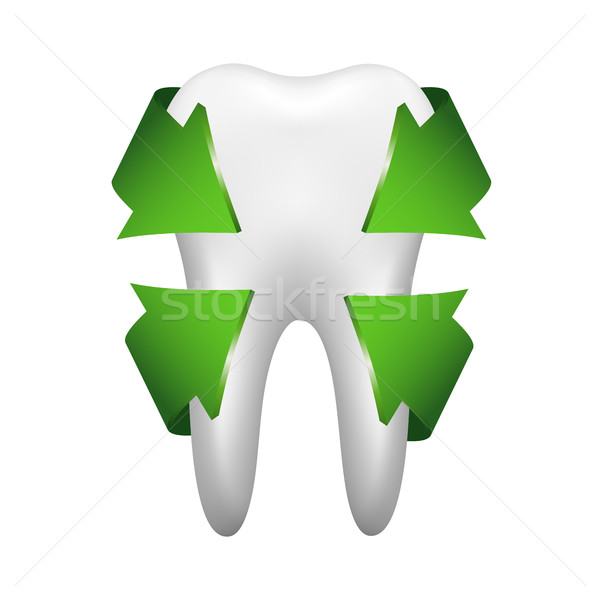 White tooth with four green arrows, stomatology icon isolated on Stock photo © kurkalukas