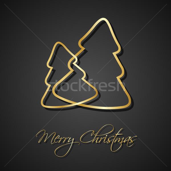 два Рождества деревья черный праздник Сток-фото © kurkalukas