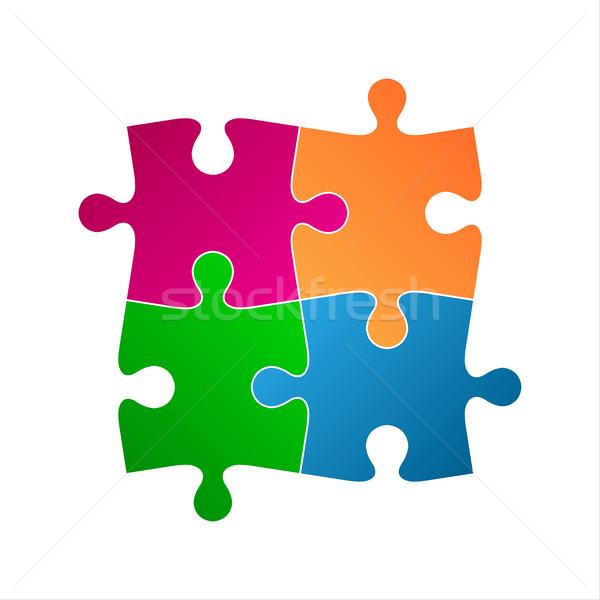 Stockfoto: Vier · gekleurd · puzzelstukjes · abstract · symbool · icon