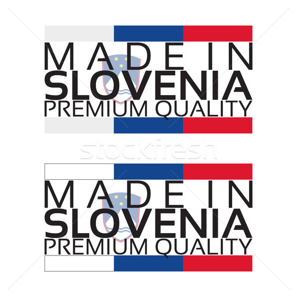 Made in Slovenia icon, premium quality sticker with Slovenian colors, vector illustration isolated o Stock photo © kurkalukas