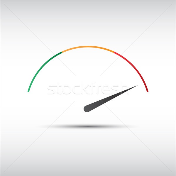 Simple vector tachometer with indicator in red part, speedometer icon, performance measurement symbo Stock photo © kurkalukas