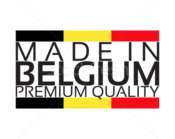Made in Belgium icon, premium quality sticker with Belgian colors, vector illustration isolated on w Stock photo © kurkalukas