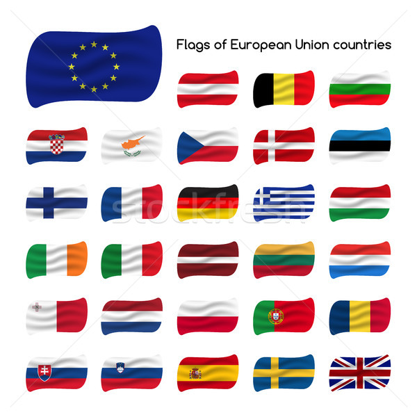 Set the flags of European Union countries, member states of EU, vector illustration isolated on whit Stock photo © kurkalukas