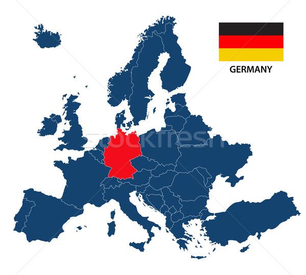 Сток-фото: карта · Европа · Германия · флаг · изолированный · белый