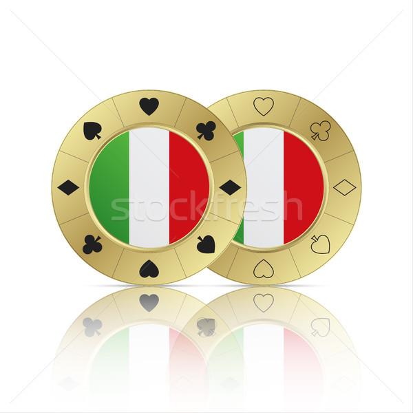 Set due casino poker chips bianco moderno Foto d'archivio © kurkalukas