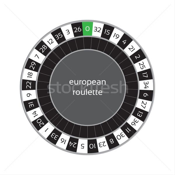 Europese roulettewiel geïsoleerd witte achtergrond veld Stockfoto © kurkalukas