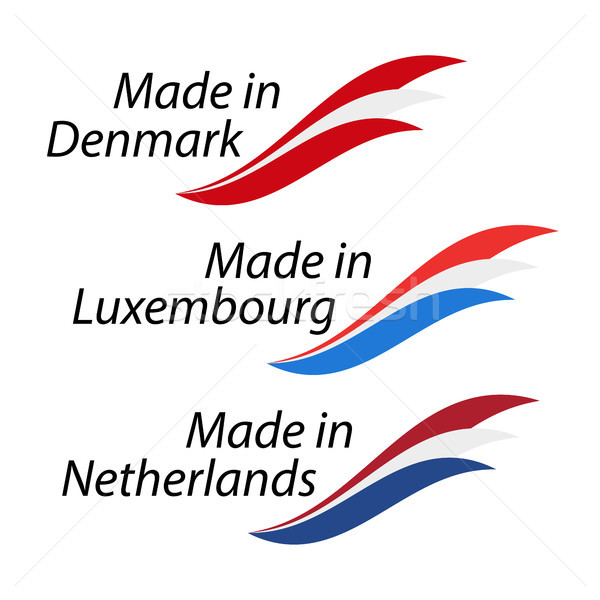 Simple logos Made in Denmark, Made in Luxembourg and Made in Netherlands, vector logos with Danish,  Stock photo © kurkalukas