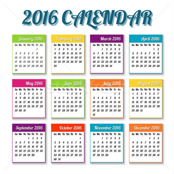 New year 2016 calendar with colored tiles, holiday vector illustration Stock photo © kurkalukas