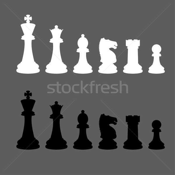 Stock photo: Complete set of vector silhouettes chess pieces