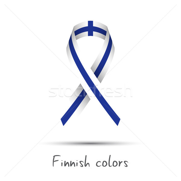Modern colored vector ribbon with the Finnish colors isolated on white background, abstract Finnish  Stock photo © kurkalukas