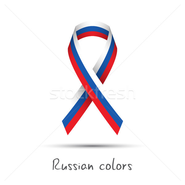 Modern colored vector awareness ribbon with the Russian tricolor isolated on white background, abstr Stock photo © kurkalukas