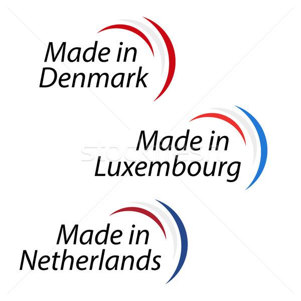 Proste logos Dania Luksemburg Niderlandy wektora Zdjęcia stock © kurkalukas