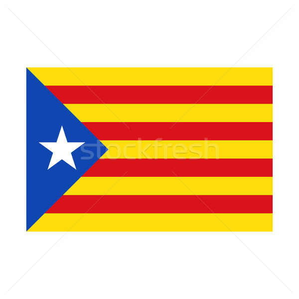 Realistic Catalan flag with drop shadow, Catalonia, vector illustration isolated on white background Stock photo © kurkalukas