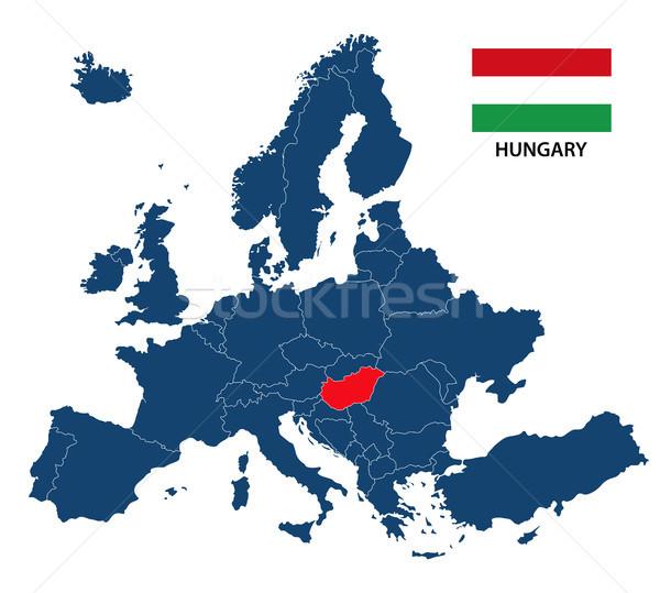 Kaart Europa Hongarije hongaars vlag geïsoleerd Stockfoto © kurkalukas