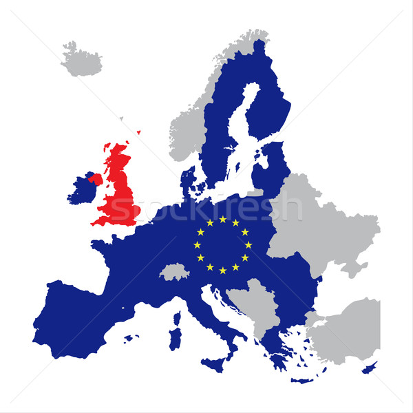 Map of Europe with European Union members and red Great Britain  Stock photo © kurkalukas