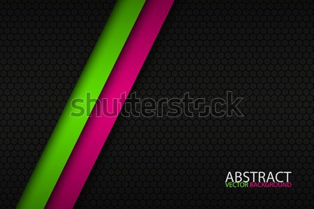 Abstract background with two bright stripes, pink and green oblique lines, grey creative vector back Stock photo © kurkalukas