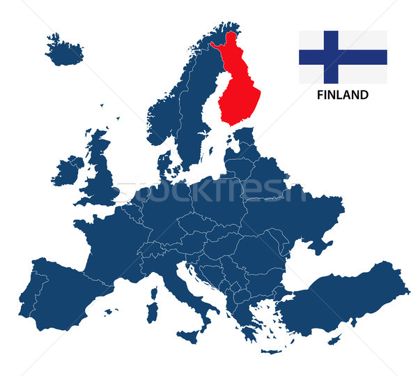 Vector illustration of a map of Europe with highlighted Finland and Finnish flag isolated on a white Stock photo © kurkalukas