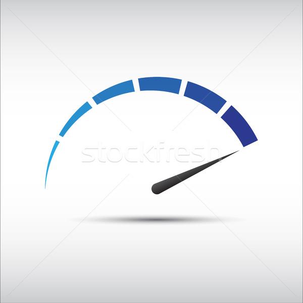 Blue vector tachometer,  speedometer icon, performance measureme Stock photo © kurkalukas