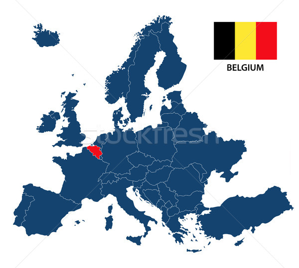 Vector illustration of a map of Europe with highlighted Belgium and Belgian flag isolated on a white Stock photo © kurkalukas