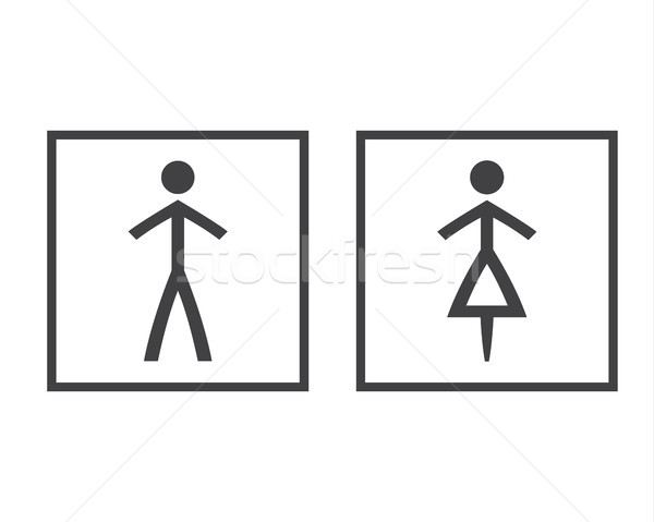Simple grey wc symbols in squares, vector restroom illustration, man and woman icons isolated on a w Stock photo © kurkalukas